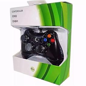 2 Controles Fio Xbox 360 E Pc Slim Joystick Com 1 Bateria