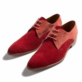 Zapato Acordonado En Gamuza Roja