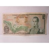 5 Cinco Pesos Oro Colombia Octubre 1 De 1978