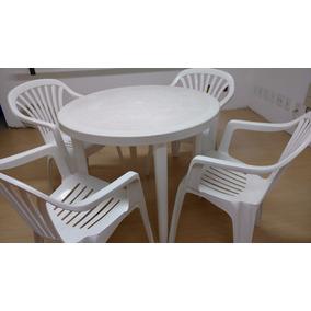 Mesa Plástica Redonda Com 4 Cadeiras Tipo Marfinite