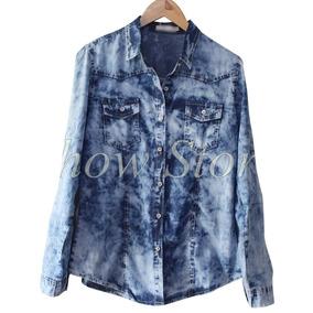 Camisa Blusa Feminina Jeans 2 Cores/ Azul Degrade Linda 2773