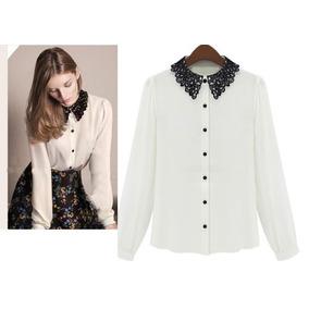 Blusa Formal Blanca Cuello Encaje Moda Asiática