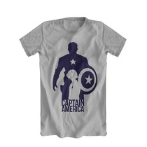 Camiseta Cinza Capitão America Quadrinhos Super Heróis