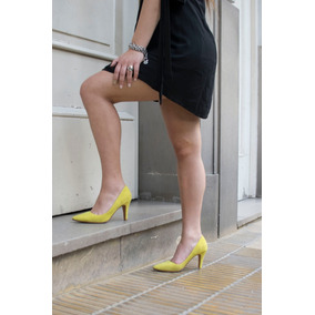 Zapato Stileto Punta Fina Cuero Y Gamuzón Mujer