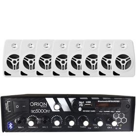 Kit Som Ambiente 300w Bluetooth Fm+ 8 Caixas 55w Branca