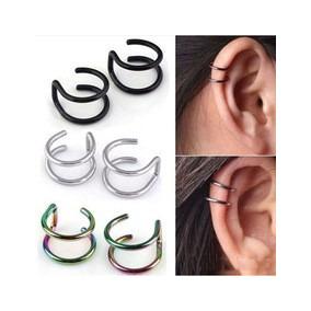 Joyeria Acero Piercing Falso Para Oreja Plateado Ear Cuff