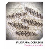25 Filigranas Corazon Bronce Para Decorar Invitaciones
