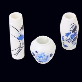 Hermoso Juego De Jarrones Miniatura Porcelana Italian Blue