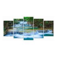 Cuadro Arte Wieco Cascada Pacífica Moderno 5 Piezas