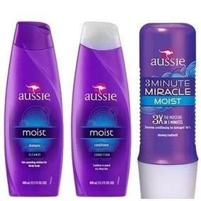 Kit Aussie Shampoo + Condicionador + 3 Minute Miracle Moist