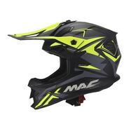 Casco Moto Mx Mac Virtus Sharp Negro Verde Mate Devotobikes