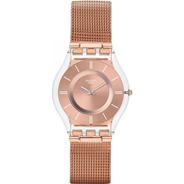 Reloj Swatch Rosé Skin Con Malla Tejida Sfp115m
