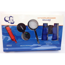 Kit Explorador Galileo Con Binocular Brujula Lupa Silbato