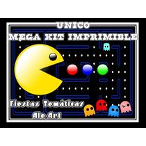 Novedad Mega Kit Imprimible Pac-man +candy Fiestas/cumpleaño
