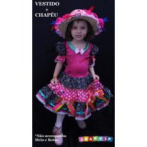 Vestido Junino Festa Junina Caipira Infantil Luxo Quadrilha