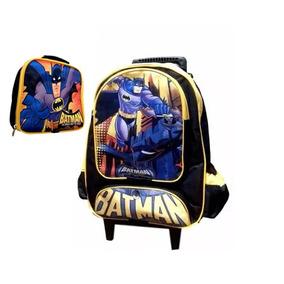 Kit Mochila Escolar Infantil Personagem Com Rodinhas Batman