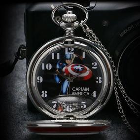Relógio De Bolso Capitão América Caixa Preta Relógio De Bo