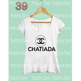 Blusa Tshirt Feminina Estampa Chatiada Moda