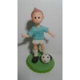 Jugador De Futbol Con Pelota Para Torta En Porcelana Fria