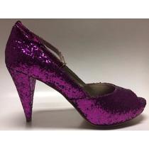 Sapato,peep Toe,glitter Pink,15 Anos,salto 9cm,conforto