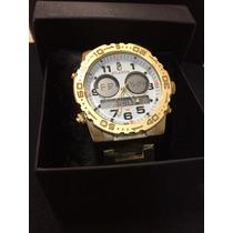 Relógio Masculino Atlantis Sport A3228 Dourado Fundo Branco