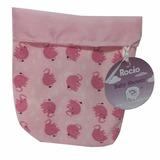Souvenir Infantil Canastita Bolsa De Tela Elefante Rosa