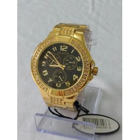 Relógio Dourado Feminino B-3064 Preto Atlantis Style