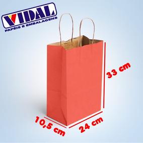 Sacola De Papel Kraft Vermelha 24 X 10,5 X 33 50 Unidades