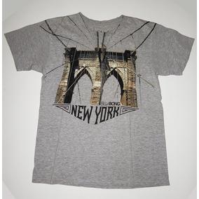 Remera Gris Billabong New York T Small Como Nueva