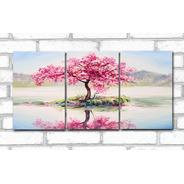 Quadro Decorativo Paisagem Árvore Rosa 60x120 3 Peças