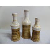 Trio Jogo Vasos Em Cerâmica - Tons Marrom C/ Cru