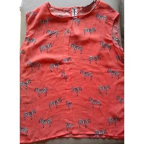 Blusa Camisa Rosa-suave Gasa Estampa Pajaritos Talle M/l Imp