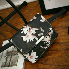 Bolsa Cartera Para Mujer Dama Mariposas Flores Blanca Negra