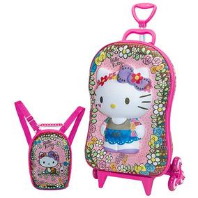 Kit Mochila Infantil 3d Rodinha Hello Kitty + Lancheira