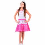 Vestido Fantasia Barbie Rock In Royals Pop Tam. P