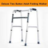 Dos Doble Botón Plegable Médica Walker Discapacidad Ayuda
