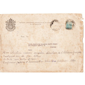 Documento Carta E Envelope Da Puc - Rj Datados De 1951 -1953
