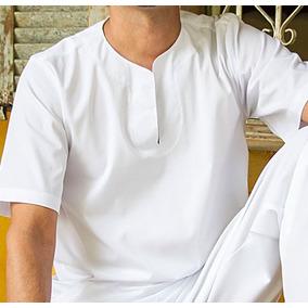 Bata Masculina Branca Umbanda/candomblé-tecido Lindo!!
