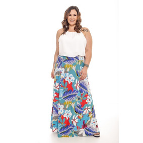 Lote Kit 5 Saia Longa Plus Size Cintura Alta Cos Largo