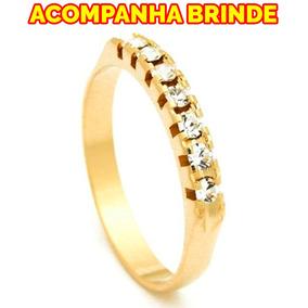 Anel Meia Aliança Ouro 18k Diamente Folheado Pedras Zirconia