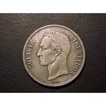 Venezuela 5 Bolivares 25 Gram De Plata Año 1935 -25 Gramos
