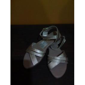Sandalias Para Niña N° 33 Color Dorado Mate