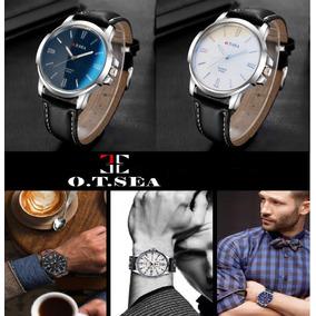Relógio Masculino Ot Sea Couro Preto Aço Inox Azul Branco