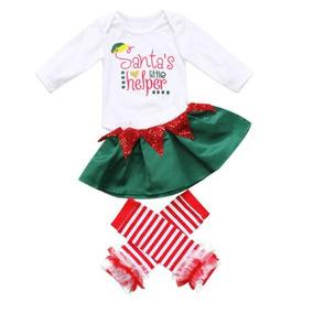 Conjunto Navideño Para Bebé 4 Piezas Color Verde Con Rojo