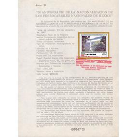 México, Hojilla, 50 Aniv Nacionalización Ferrocarrilera 1987