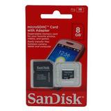Cartão Memória Micro Sd + Adaptador Sandisk 8gb Original