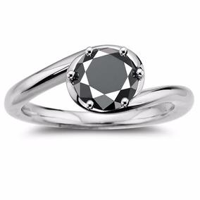 Anillo Con Diamante Negro Certificado 2.64qt #7.5