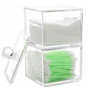 Kit Organizador Porta Cotonete + Algodão Acrilico P Banheiro