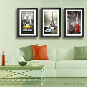 3 Quadros Nova York Paris Londres 60x40cm Decorativos Quarto
