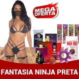 Kit Sexshop 25u Fantasia Strap Bra Ninja Preta Sex Shop P